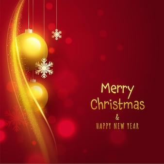 Feliz natal e feliz ano novo conceito com enfeites dourados 3d pendurar, flocos de neve e ondas de partículas sobre fundo vermelho.