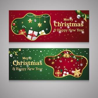 Feliz natal e feliz ano novo conjunto de banner