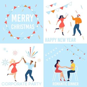 Feliz natal e feliz ano novo conjunto de celebração