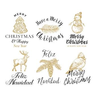 Feliz natal e feliz ano novo conjunto de sinais abstratos, etiquetas ou modelos de logotipo