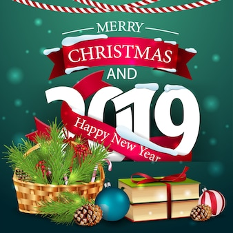Feliz natal e feliz ano novo de 2019 Vetor Premium