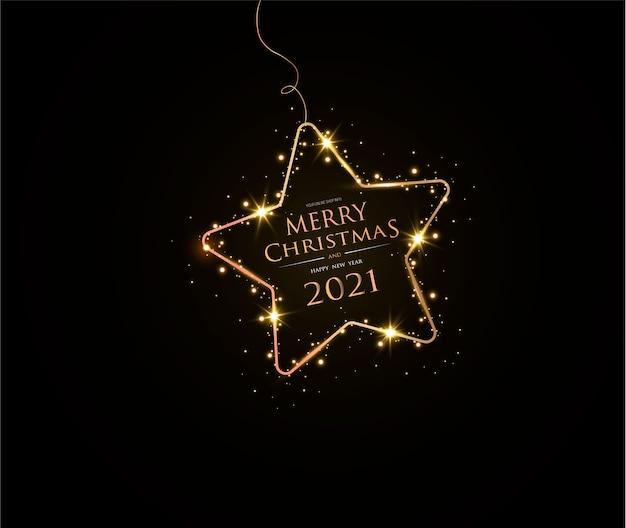 Feliz natal e feliz ano novo de 2021 cartão elegante