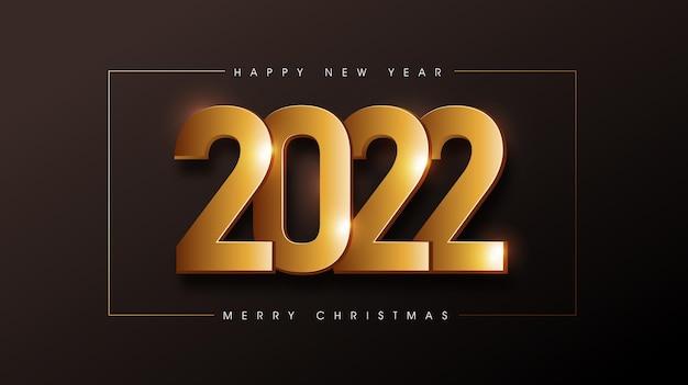 Feliz natal e feliz ano novo de 2022 fundo de texto decorado com textura dourada