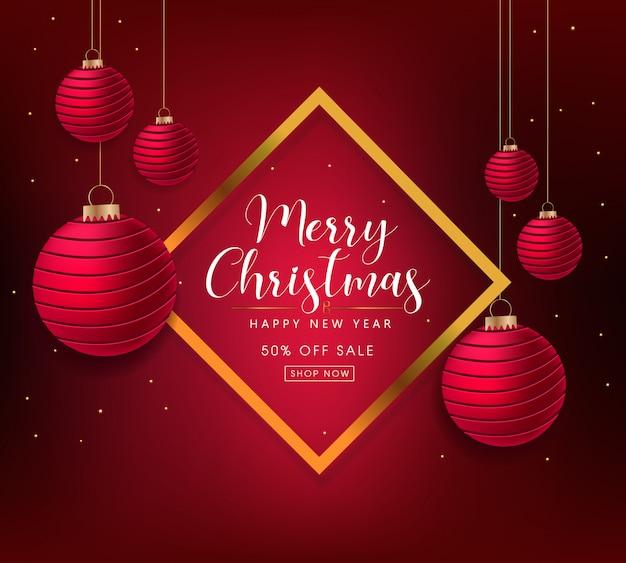Feliz natal e feliz ano novo design de modelo de banner de venda