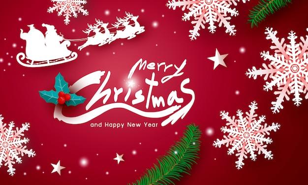 Feliz natal e feliz ano novo design em fundo vermelho