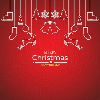 Feliz natal e feliz ano novo design plano mínimo com elementos de natal