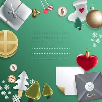 Feliz natal e feliz ano novo do conceito do elemento do grupo, ilustração.