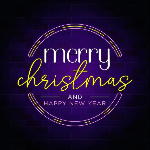 Feliz natal e feliz ano novo em crachá com texto em néon