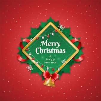 Feliz natal e feliz ano novo em decorações de quadros