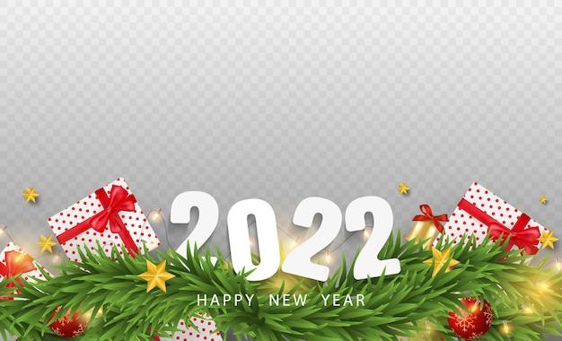 Feliz natal e feliz ano novo em fundo transparente. caixas de presente realistas, ramos, estrelas e elementos de natal. ilustração em vetor 3d.