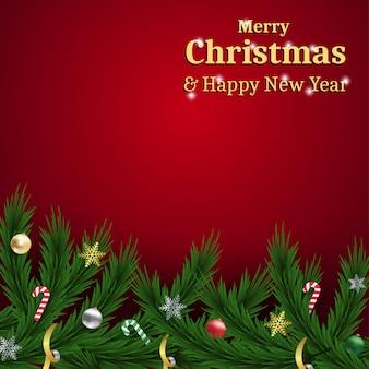 Feliz natal e feliz ano novo em fundo vermelho em branco para cartão