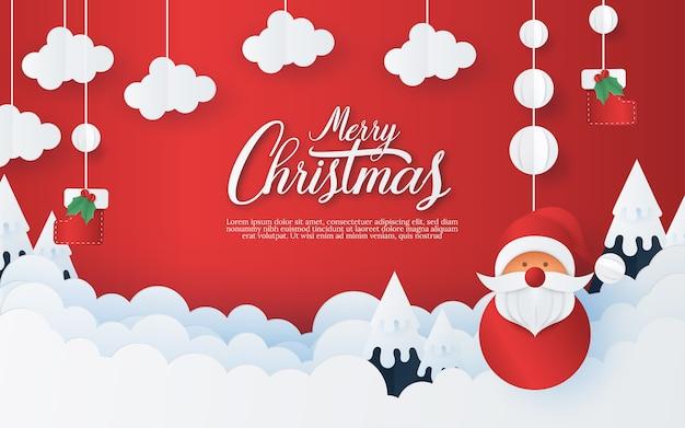 Feliz natal e feliz ano novo em fundo vermelho. estilo de arte e artesanato de papel criativo.