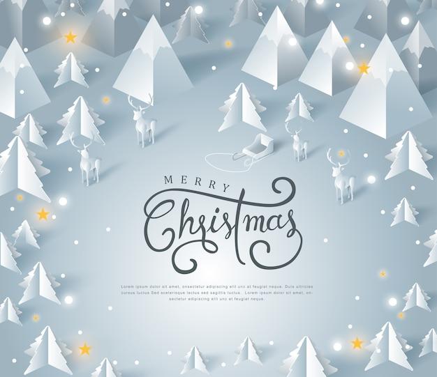 Feliz natal e feliz ano novo em papel arte e estilo artesanal.