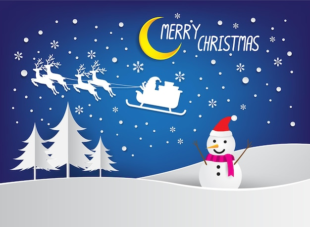 Feliz natal e feliz ano novo em papel arte e estilo artesanal