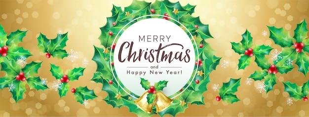 Feliz natal e feliz ano novo enfeite de grinalda em dourado