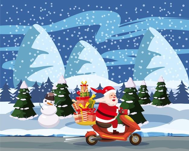 Feliz natal e feliz ano novo feliz papai noel com uma caixa de presentes andando de scooter