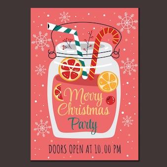 Feliz natal e feliz ano novo festa de saudação cartaz de panfleto de cartão de bebida quente de vinho quente