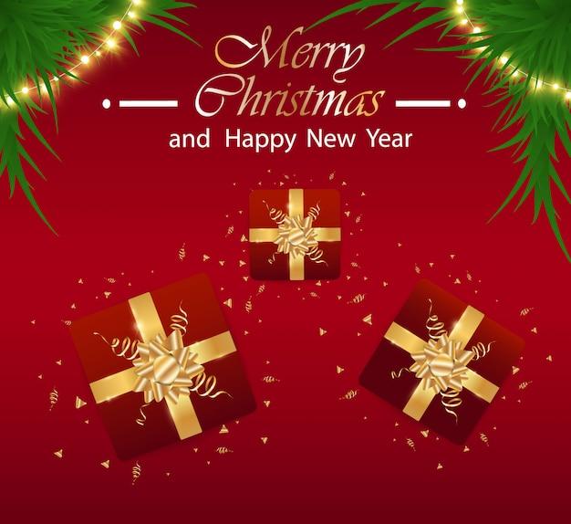Feliz natal e feliz ano novo festivo realista fundo vermelho. ilustração do ano novo com caixa de presente e enfeites de natal dourado.