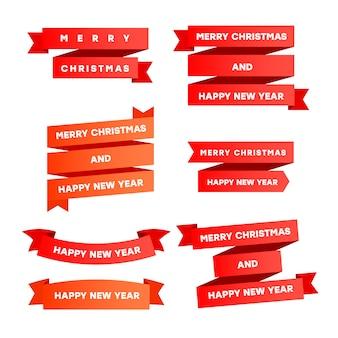 Feliz natal e feliz ano novo fitas vermelhas com lugar para texto