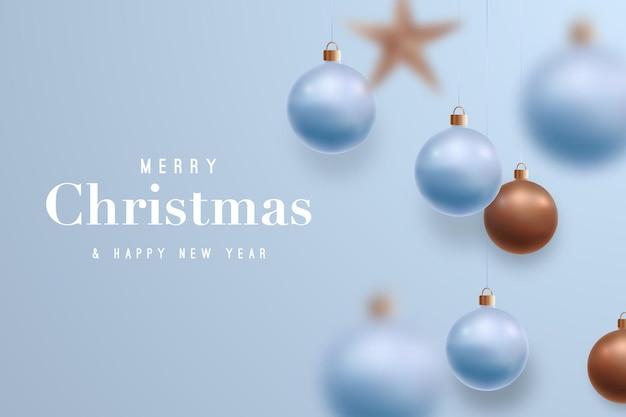 Feliz natal e feliz ano novo fundo azul claro