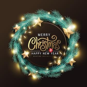 Feliz natal e feliz ano novo fundo banner. texto de natal letras caligráficas.