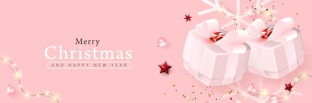 Feliz natal e feliz ano novo fundo banner.