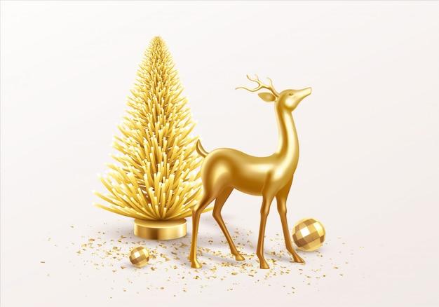Feliz natal e feliz ano novo fundo com decorações realistas do feriado.