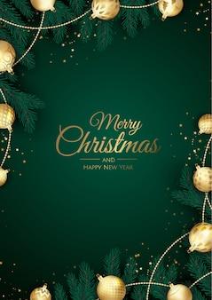 Feliz natal e feliz ano novo fundo com flocos de neve e bolas