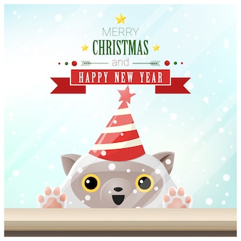 Feliz Natal e feliz ano novo fundo com gato
