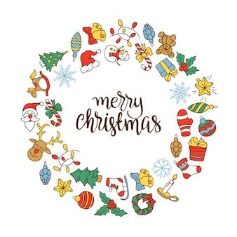Feliz natal e feliz ano novo fundo com ícones coloridos.
