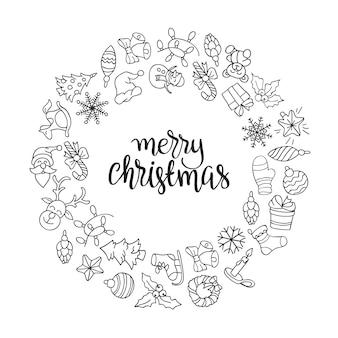 Feliz natal e feliz ano novo fundo com ícones.