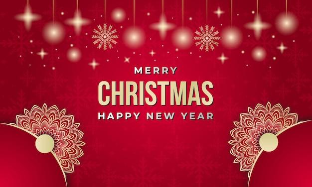Feliz natal e feliz ano novo fundo com mandala