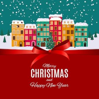 Feliz natal e feliz ano novo fundo com pequena cidade em estilo retro