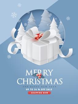 Feliz natal e feliz ano novo fundo de banner de venda com caixa de presente em papel arte e estilo artesanal
