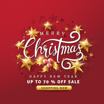 Feliz natal e feliz ano novo fundo de banner de venda com estrelas douradas