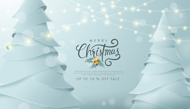 Feliz natal e feliz ano novo fundo de banner de venda com papel arte e estilo artesanal.