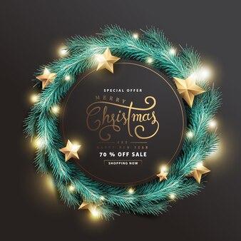Feliz natal e feliz ano novo fundo de banner de venda