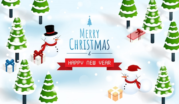 Feliz natal e feliz ano novo fundo de floresta de neve