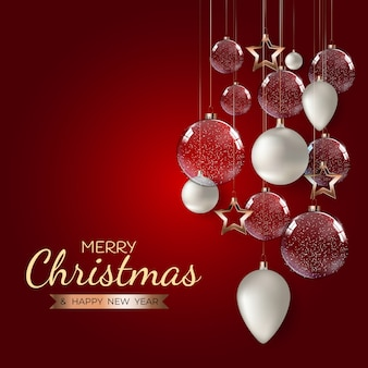 Feliz natal e feliz ano novo fundo de modelo de férias.