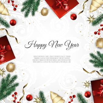 Feliz natal e feliz ano novo, fundo de natal com caixa de presente, flocos de neve e bolas de design