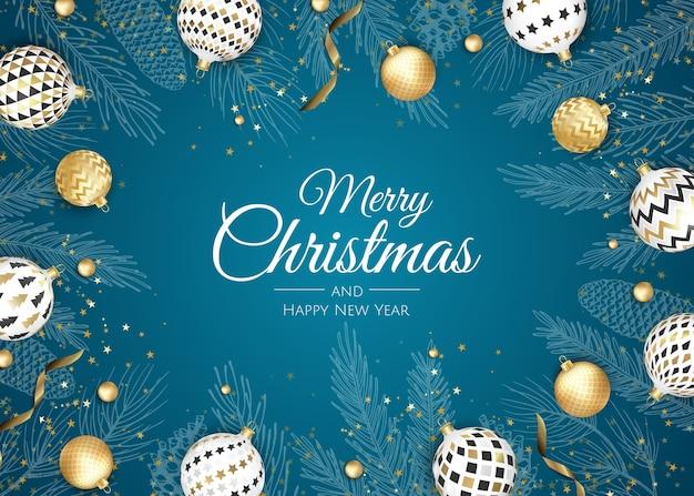 Feliz natal e feliz ano novo. fundo de natal com poinsétia, flocos de neve, estrela e bolas. cartão de felicitações, banner de férias, pôster da web