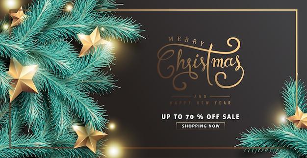 Feliz natal e feliz ano novo fundo de venda