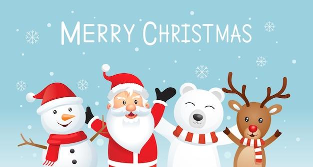 Feliz natal e feliz ano novo fundo. papai noel e amigos na ilustração de cor azul.