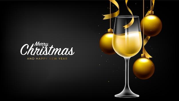 Feliz natal e feliz ano novo, fundo preto com elementos realistas de natal