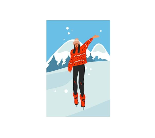 Feliz natal e feliz ano novo ilustração dos desenhos animados