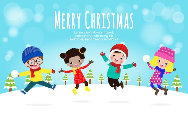 Feliz natal e feliz ano novo, ilustração vetorial de crianças brincando ao ar livre no inverno, isolado no fundo branco