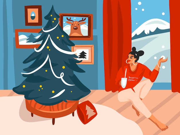 Feliz natal e feliz ano novo ilustrações festivas dos desenhos animados