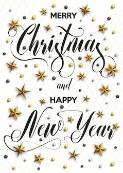 Feliz natal e feliz ano novo inscrição