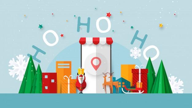 Feliz natal e feliz ano novo. inverno on-line no site ou modelo de banner de venda de aplicativo móvel.