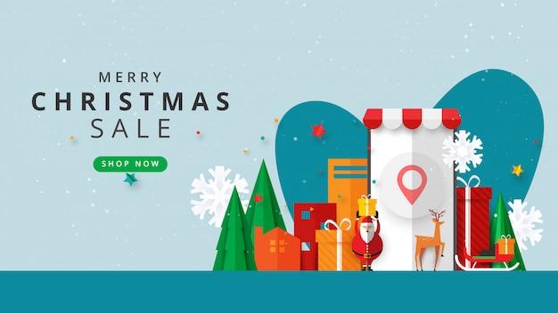 Feliz natal e feliz ano novo. inverno online no site ou banner de modelo de venda de aplicativo móvel.